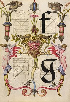Guide for Constructing the Letters f and g -  Joris Hoefnagel,  Flemish and Hungarian, ca. 1591-1596; Watercolors, gold and silver paint, and ink on parchment