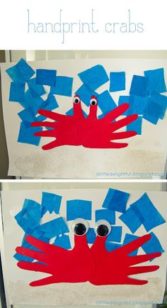 Also has mother's day crafts - another Handprint Crab (love the tissue squares for water!)