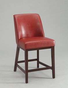 """Set of 2 Valor collection Red faux leather seat and espresso finish wood counter height bar stools.  Measures 26"""" H seat height.  Some assembly required."""