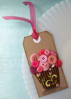 Cupcake Tag - something to use all buttons you thought would be great for crafts, but haven't used!