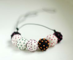 Polka dot embroidered felt necklace  lovely spring by Feltik