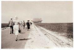 People Walking to Navy Airship U.S.S. Akron