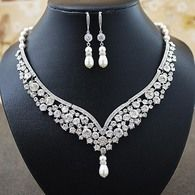 Bridal Statement Necklace and Earrings Set from EarringsNation