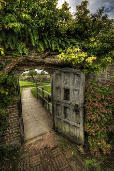 Through the garden gate.
