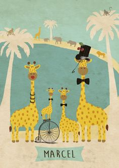 Geboortekaartje Marcel - Pimpelpluis - https://www.facebook.com/pages/Pimpelpluis/188675421305550?ref=hl (# giraf - grote broer - familie - palmboom - dieren - afrika - water - vintage - origineel)