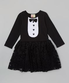 Take a look at this Twirls & Twigs Black & White Tuxedo A-Line Dress - Toddler today!