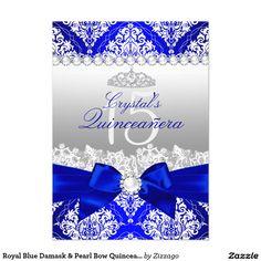 Shop Royal Blue Damask Pearl Bow Quinceanera Invite created by Zizzago. Quince Invitations, Blue Wedding Invitations, Birthday Invitations, Quinceanera Decorations, Quinceanera Party, Quinceanera Dresses, Quinceanera Planning, Invitation Envelopes, Zazzle Invitations