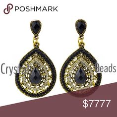 "N| BLACK CRYSTAL BEADED EARRINGS Beautiful earrings. These should be your go to black dressy fashion earrings. 2"" Length 1"" Width. Pack a lot of punch. These will also take you from day to night if you have a dressy wardrobe. -No trades pls 51Twenty Jewelry Earrings"