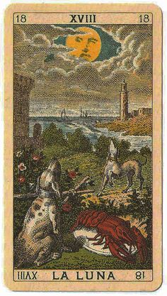 """""""La Luna"""" (The Moon) - Ancient Italian tarot card from a deck produced in Serravalle Sesia (Italy) in 1880 by an anonymous artist"""