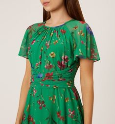 Hobbs Green Floral 'Sarah' Fit and Flare Dress Fit Flare Dress, Fit And Flare, Floral Maxi Dress, Dress Up, Sarah Fit, Hobbs London, Occasion Dresses, Short Sleeve Dresses, Green