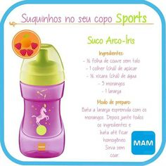 Suco Arco-Íris Kids And Parenting, Baby Food Recipes, Juice, Baby Puree Recipes, Recipes For Children, Kids Lunch Menu, Healthy Kid Snacks, Healthy Eating For Kids, Food Drink