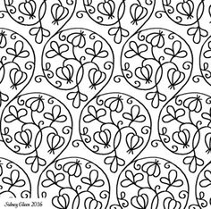 Freehand Blackwork Embroidery Pattern from Extant Unfinished Coif, transcribed by Sidney Eileen