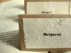 Unique Wedding Place Cards - Rustic Woodland, Vintage-Inspired, Natural - Kraft & Ivory, True Typewriter Font