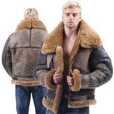 Trouver plus Cuir et daim Informations sur B3 en peau de mouton En Cuir veste…