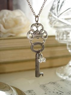The QUEEN Of EVERYTHING - Antique Skeleton Key Necklace. Vintage Key Necklace, Silver Royal Crown, Sparkling Crystals. Upcycled Jewelry.. $32.50, via Etsy.