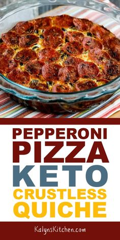 Pepperoni Pizza Keto Quiche When you're craving the flavors of Pepperoni Pizza but don't want the carbs, this Pepperoni Pizza Keto Crustless Quiche will always be a winner! Keto Quiche, Quiche Recipes, Crustless Pizza, Low Carb Quiche, Quesadilla Recipes, Frittata, Keto Foods, Ketogenic Recipes, Low Carb Recipes