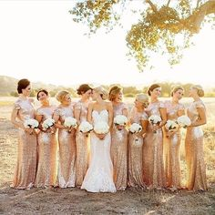 Golden goddesses during the golden hour. Check out the sequin collection of bridesmaid dresses available at brideside.com    Photo by: Rich Lander