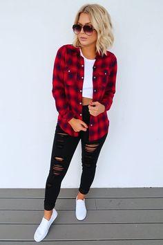 Plaid Shirt Outfits, Fall Fashion Outfits, Cute Casual Outfits, Fall Winter Outfits, Stylish Outfits, Autumn Fashion, Red Flannel Outfit, Cute Flannel Outfits, Jean Jacket Outfits