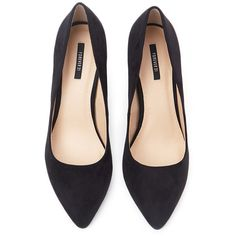 Forever 21 Pointed Faux Suede Pumps (180 NOK) ❤ liked on Polyvore featuring shoes, pumps, heels, flats, black, high heeled footwear, pointed toe flats, pointed-toe pumps, black heeled shoes and high heel pumps
