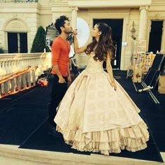 ariana grande on her right there video shoot (that dress!)