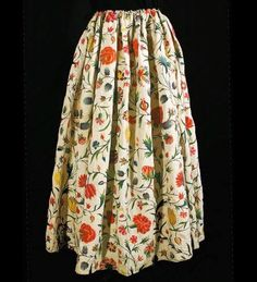 Isn't this linen skirt - embroidered from hem to waist in crewel work - a treasure?  This skirt wasmade and embroidered in France - some time around 1790.   This skirt was for sale, but now sold from Vintage Textile at https://www.vintagetextile.com/