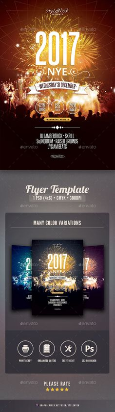 2017 NYE Party Flyer — Photoshop PSD #celebrate #party flyer • Available here → https://graphicriver.net/item/2017-nye-party-flyer/9817946?ref=pxcr