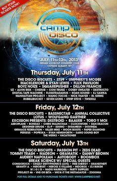 Daily Artist line up! Camp is KILLINNNN ITTTT @Courtney Parmenter Bisco
