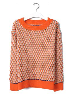 Wholesale Youthful & Trendy Mixed Colors Round-neck Plaid Long Sleeve Sweater----Orange top dresses