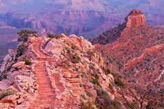 Grand Canyon South Kaibab Trail and O'Neill Butte at sunrise // We'll be hiking this trail very soon and I can't wait!!