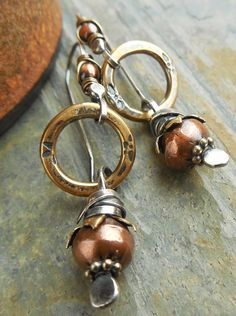 Earrings Mixed Metal Sterling Silver Brass Copper Ring and Drop Rustic Boho