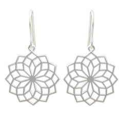 Thailand's Jantana designs earrings bursting with modern elegance. Bright like fireworks, the sterling silver earrings are handcrafted and feature a brushed satin finish.