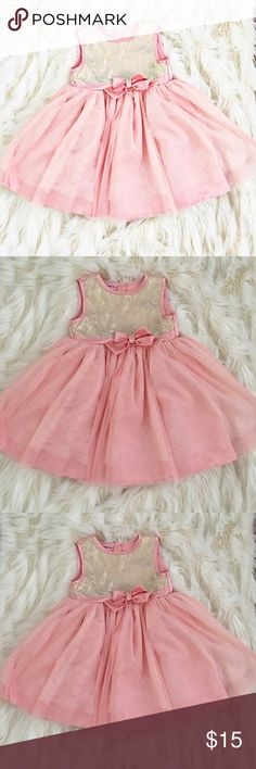 Pink and gold party dress Worn once in like new condition. Sparkle dust throughout skirt. Nanette Baby Dresses Formal