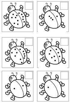 De kinderen tellen de stippen en stempelen of schrijven het cijfer in het hok [jufsanne.com]