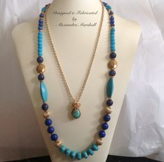 "Love the turquoise and cobalt blue colors in these great layered necklaces by Alexandra Marshall. 22"" Bezeled turquoise tear drop pendant (Item #2064)w/ hand wired bail & 14k gold overlay chain - $79. 28"" Beaded necklace (#2063) w/ blue mountain jade & turquoise magnesite - $89. To purchase, email: xmarshallm@aol.com"