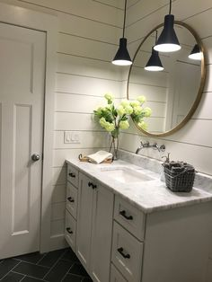 #TileEffectLaminateFlooring Cottage Bathroom Design Ideas, Bathroom Interior, Shiplap Bathroom Wall, Round Bathroom Mirror, Basement Bathroom Ideas, Small Bathroom Designs, Design Bathroom, Wall Mirror, Hanging Lights In Bathroom