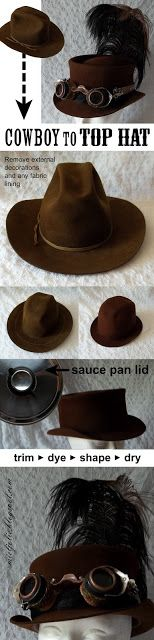 All Things Crafty: Another Cowboy Hat into Steampunk Top Hat - This is a brilliant tutorial. I'm SO trying it soon because I have a ton of cowboy hats I get for $1 or so at yard sales.