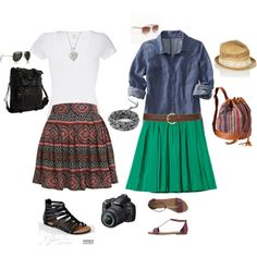 spring/summer tourist-y skirts by kelsey-elizabeth-nicole on Polyvore