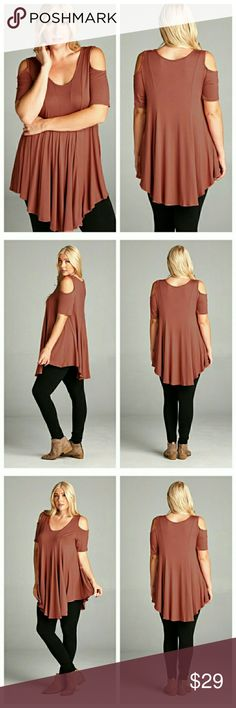 Marsala Cold-Shoulder Scoop Neck Top Marsala top has short sleeves, open shoulders and a scoop neck. Princess seams in front and back flare to give the top a nice swing. Asymmetrical hems dip in back and front. EVIEcarche Tops