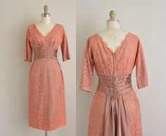 vintage 1950s dress / salmon pink lace by simplicityisbliss, $224.00