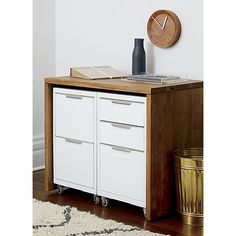 Could buy this acacia wood console to store our two file cabinets and then let Bob have the tall one so his desk is taller.  And then I can just have a little desk with no file cabinet....