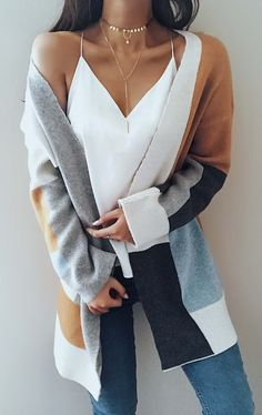 Knit Multi color Long Sleeve Cardigan Sweater knits outfits for fall and winter boyfriend style for women Mode Outfits, Fall Outfits, Casual Outfits, Fashion Outfits, Fashion Tips, Fashion Trends, Fashion Lookbook, Fasion, Fashion Ideas