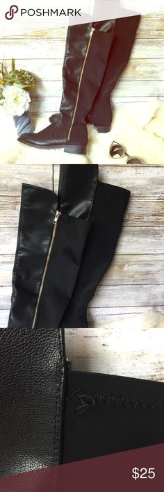 """Knee High Black Vegan Leather Boots with Gold Zip Fall ready knee high boots. Size 6 fits like an 8. Vegan leather Front and semi stretchy back panel. 1"""" heel. Rise in front is 19.5"""" and back rise is 17"""". Gold non functioning zipper on the outsides and working black zippers on the inside.   •I don't swap/trade •I don't do holds  •I rarely model due to the fact that I don't fit all items.  •I price with shipping in mind  •I am open to reasonable negotiations  •Bundle for the best deals  ☮…"""