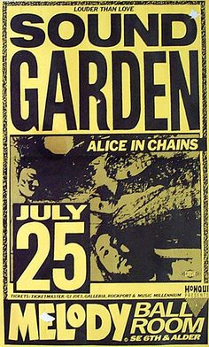 I wish I coulda been there, omg! Soundgarden and Alice in Chains concert poster Alice In Chains, Tour Posters, Band Posters, Film Posters, Poster S, Poster Prints, Anime Rock, Music Background, Music Girl