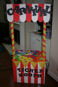 Fun Carnival Booth Ideas | Every carnival needs a ticket booth!!! I made this from an old box and ...