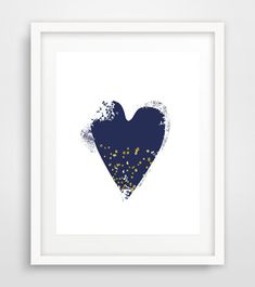 Navy Heart Wall Art Print Digital Download Art Heart by Ikonolexi