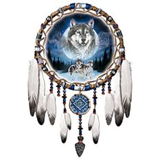 Al Agnew Wolf Art Dreamcatcher Replica