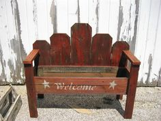 Primitive Country Flower box bench by DedesCountryCrafts on Etsy, $59.99