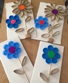 des-fleurs-fabriquées-à-partir-de-rouleau-papier-toilette-et-couvercles-de-bouteilles-idée-activité-manuelle-maternlelle-enfants
