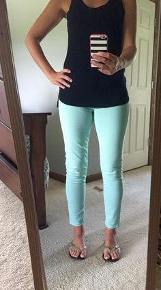 Mavi Alexa Ankle Jeans in mint. Love the fit, color and length. Could match with a lot of tops