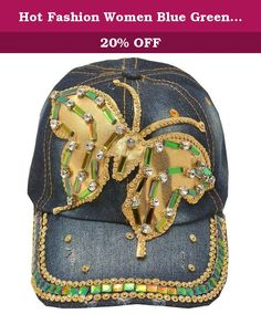 Hot Fashion Women Blue Green Denim Gem Studded Butterfly Applique Sun Hat Cap. This denim stone adorned cap sun hat from Hot Fashion is great for casual wear. The cap features butterfly applique with green and gold gems and rhinestones attached and studded brim. Shimmery accents add a feminine touch to this sporty piece.